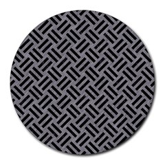 Woven2 Black Marble & Gray Colored Pencil (r) Round Mousepads by trendistuff