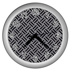 Woven2 Black Marble & Gray Colored Pencil (r) Wall Clocks (silver)  by trendistuff