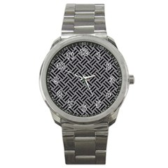 Woven2 Black Marble & Gray Colored Pencil (r) Sport Metal Watch by trendistuff