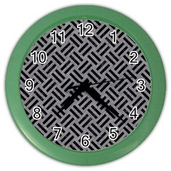 Woven2 Black Marble & Gray Colored Pencil (r) Color Wall Clocks by trendistuff