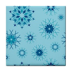 Blue Winter Snowflakes Star Tile Coasters
