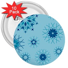 Blue Winter Snowflakes Star 3  Buttons (10 Pack)  by Mariart