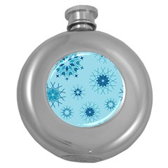 Blue Winter Snowflakes Star Round Hip Flask (5 Oz) by Mariart