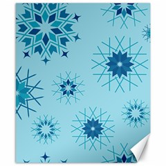 Blue Winter Snowflakes Star Canvas 8  X 10  by Mariart