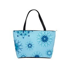 Blue Winter Snowflakes Star Shoulder Handbags by Mariart