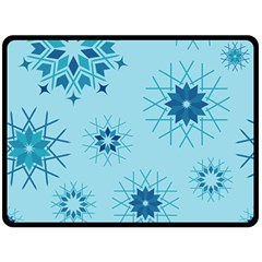 Blue Winter Snowflakes Star Fleece Blanket (large)  by Mariart