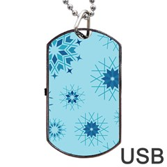 Blue Winter Snowflakes Star Dog Tag Usb Flash (two Sides) by Mariart