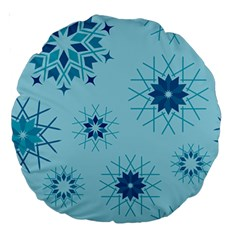 Blue Winter Snowflakes Star Large 18  Premium Round Cushions by Mariart