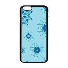 Blue Winter Snowflakes Star Apple Iphone 6/6s Black Enamel Case by Mariart