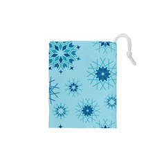 Blue Winter Snowflakes Star Drawstring Pouches (xs)  by Mariart