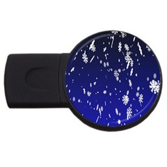 Blue Sky Christmas Snowflake Usb Flash Drive Round (2 Gb) by Mariart