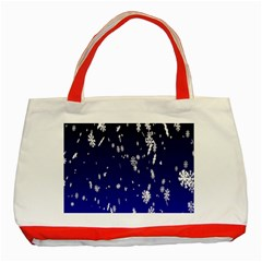 Blue Sky Christmas Snowflake Classic Tote Bag (red) by Mariart