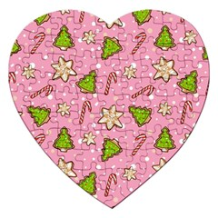 Ginger Cookies Christmas Pattern Jigsaw Puzzle (heart) by Valentinaart