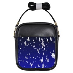 Blue Sky Christmas Snowflake Girls Sling Bags by Mariart