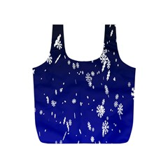 Blue Sky Christmas Snowflake Full Print Recycle Bags (s)