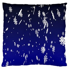 Blue Sky Christmas Snowflake Large Flano Cushion Case (one Side) by Mariart