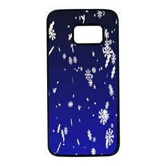 Blue Sky Christmas Snowflake Samsung Galaxy S7 Black Seamless Case