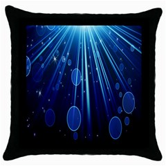 Blue Rays Light Stars Space Throw Pillow Case (black) by Mariart