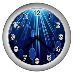 Blue Rays Light Stars Space Wall Clocks (silver)  by Mariart