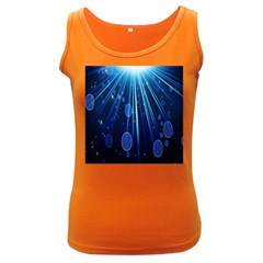 Blue Rays Light Stars Space Women s Dark Tank Top