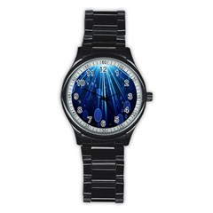 Blue Rays Light Stars Space Stainless Steel Round Watch by Mariart