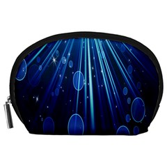Blue Rays Light Stars Space Accessory Pouches (large)  by Mariart