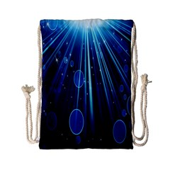 Blue Rays Light Stars Space Drawstring Bag (small) by Mariart