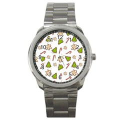 Ginger Cookies Christmas Pattern Sport Metal Watch by Valentinaart