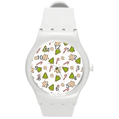 Ginger Cookies Christmas Pattern Round Plastic Sport Watch (m) by Valentinaart