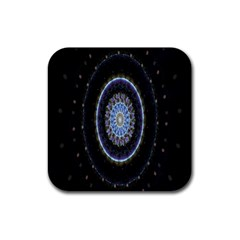 Colorful Hypnotic Circular Rings Space Rubber Coaster (square)  by Mariart