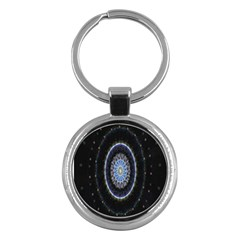 Colorful Hypnotic Circular Rings Space Key Chains (round)  by Mariart