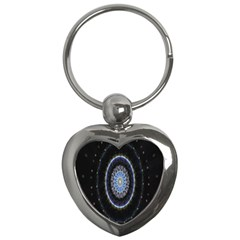 Colorful Hypnotic Circular Rings Space Key Chains (heart)  by Mariart