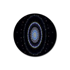 Colorful Hypnotic Circular Rings Space Rubber Coaster (round)  by Mariart