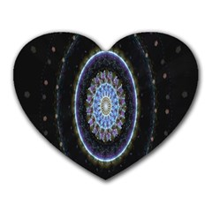 Colorful Hypnotic Circular Rings Space Heart Mousepads by Mariart