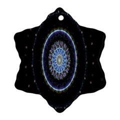 Colorful Hypnotic Circular Rings Space Snowflake Ornament (two Sides) by Mariart