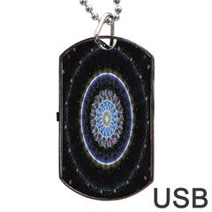 Colorful Hypnotic Circular Rings Space Dog Tag Usb Flash (two Sides) by Mariart