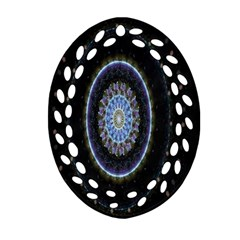Colorful Hypnotic Circular Rings Space Oval Filigree Ornament (two Sides) by Mariart