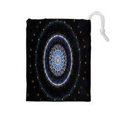 Colorful Hypnotic Circular Rings Space Drawstring Pouches (large)  by Mariart