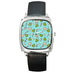 Ginger Cookies Christmas Pattern Square Metal Watch by Valentinaart
