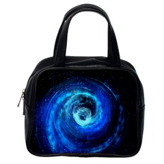 Blue Black Hole Galaxy Classic Handbags (one Side) by Mariart