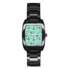 Ginger Cookies Christmas Pattern Stainless Steel Barrel Watch