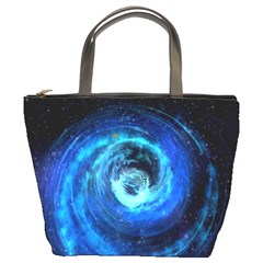 Blue Black Hole Galaxy Bucket Bags by Mariart