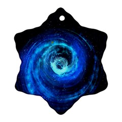 Blue Black Hole Galaxy Snowflake Ornament (two Sides) by Mariart