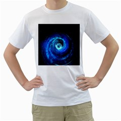 Blue Black Hole Galaxy Men s T-shirt (white)  by Mariart