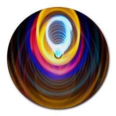 Colorful Glow Hole Space Rainbow Round Mousepads by Mariart