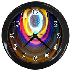 Colorful Glow Hole Space Rainbow Wall Clocks (black) by Mariart