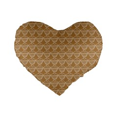 Cake Brown Sweet Standard 16  Premium Flano Heart Shape Cushions by Mariart