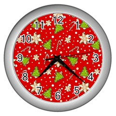 Ginger Cookies Christmas Pattern Wall Clocks (silver)  by Valentinaart