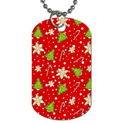Ginger Cookies Christmas Pattern Dog Tag (one Side) by Valentinaart
