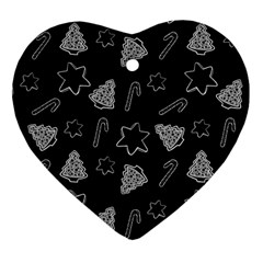 Ginger Cookies Christmas Pattern Heart Ornament (two Sides) by Valentinaart